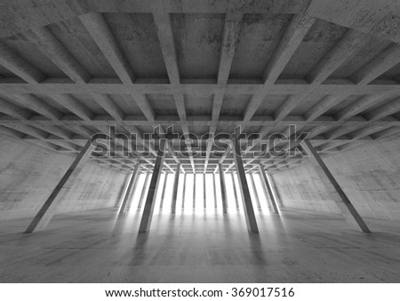 Abstract architecture background, wide angle perspective view of empty concrete room, 3d illustration