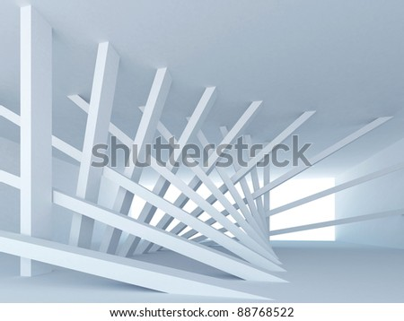 Abstract Architecture. Blue corridor Interior with tilted columns, and glowing end