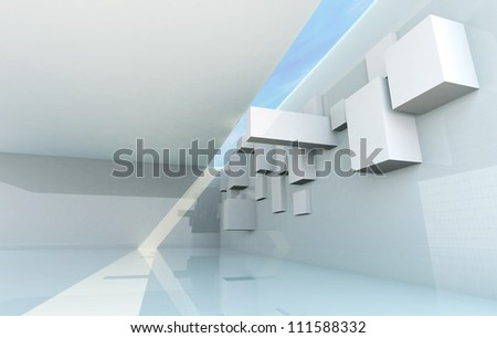 Abstract Architecture Concept, gallery interior - stock photo