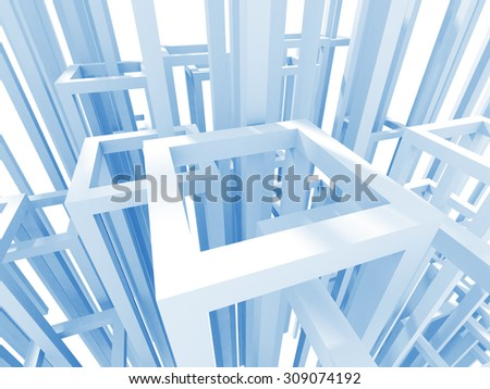 Abstract Architecture Construction Structure Background. 3d Render Illustration - stock photo