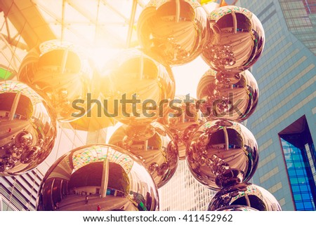 abstract architecture construction with sun rays - stock photo