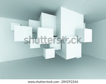 Abstract Architecture Cube Blocks Design Room Interior Background. 3d Render Illustration - stock photo