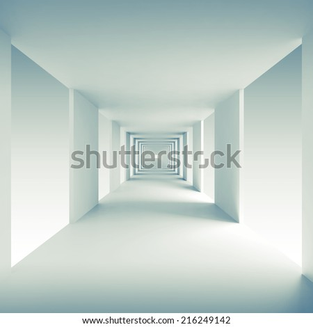 Abstract architecture 3d background, empty corridor perspective - stock photo