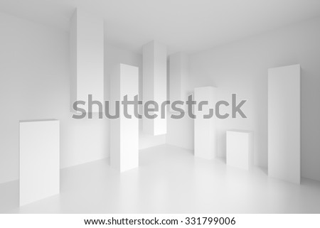 Abstract Architecture Design. White Modern Background - stock photo