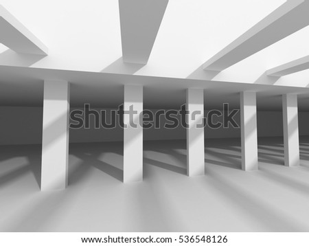 Abstract Architecture Design White Modern Background. 3d Rendeer Illustration