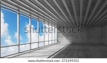 Abstract architecture, empty open space interior with bright windows and gray concrete walls, 3d illustration with blue sky background