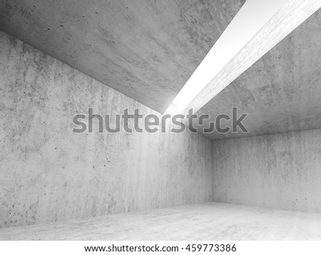 Abstract architecture interior background, empty concrete room with white light opening in ceiling, 3d illustration