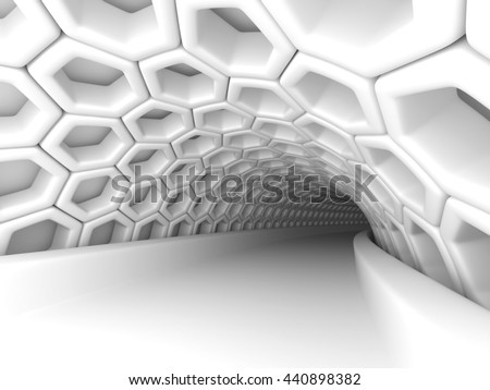 Abstract Architecture Tunnel With Light Background. 3d Render Illustration - stock photo