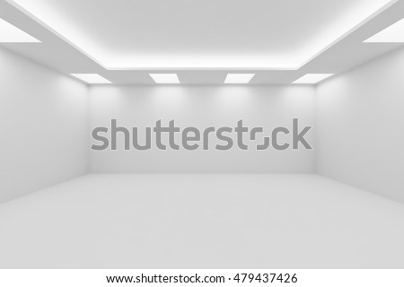 Abstract architecture white room interior - wide empty white room with white wall, white floor, white ceiling with square ceiling lamps and hidden ceiling lights and empty space, 3d illustration
