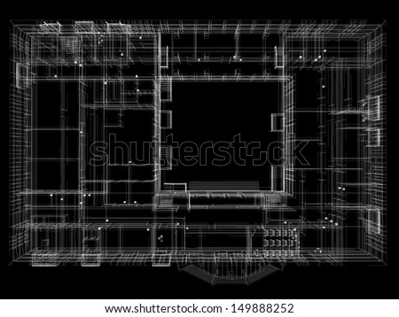 Abstract archticture. Wire-frame render on black background - stock photo