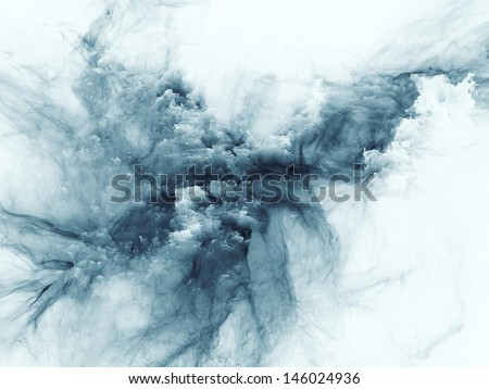 Abstract arrangement of bursting strands of fractal smoke and paint suitable as background for projects on design, science, technology and creativity - stock photo
