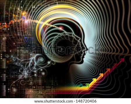 Abstract arrangement of human feature lines and symbolic elements suitable as background for projects on human mind, consciousness, imagination, science and creativity