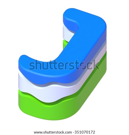 abstract art ABC, 3d letter J isolated on white background - stock photo