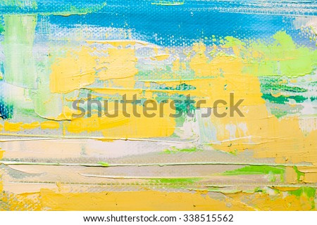Abstract art  background. Oil painting on canvas. Blue and yellow light  texture. Fragment of artwork. Spots of oil paint. Brushstrokes of paint. Modern art. Contemporary art. - stock photo