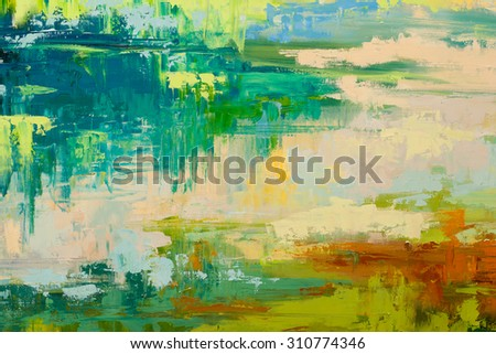Abstract art  background. Oil painting on canvas. Green and white  texture. Fragment of artwork. Spots of oil paint. Brushstrokes of paint. Modern art. Contemporary art. - stock photo