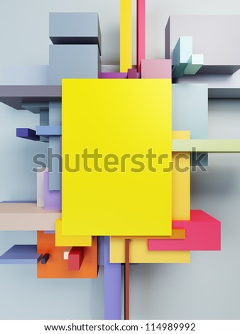 abstract art composition, 3d render