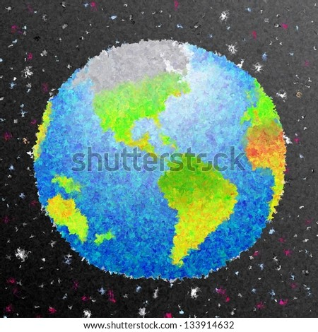 Abstract art earth in space draw background