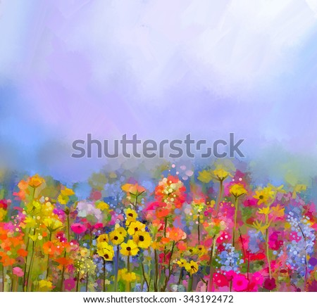 Abstract art oil painting of summer-spring flowers. Cornflower, daisy flower in fields. Meadow landscape with wildflower, Purple-blue Sky color background. Hand Paint floral Impressionist style - stock photo