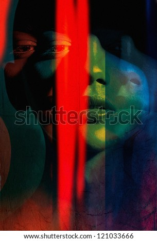 abstract art portrait women. Photo based illustration . Extreme texture and grain added. - stock photo