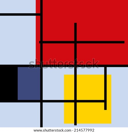 Abstract art. Red, blue, black, yellow square - stock photo