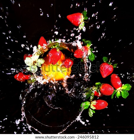 abstract art - Still Life - splashing water on black background  - stock photo