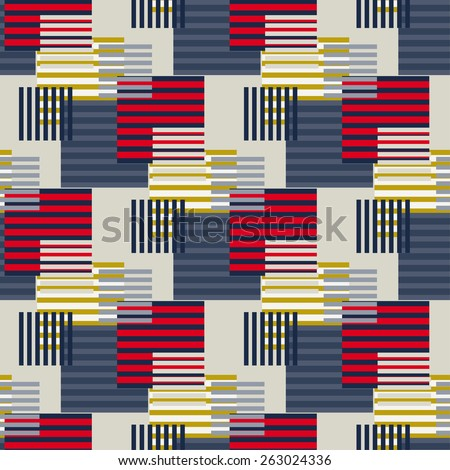 Abstract art stripped geometric seamless pattern. Modern colorful background texture. Lines, stripes - stock photo