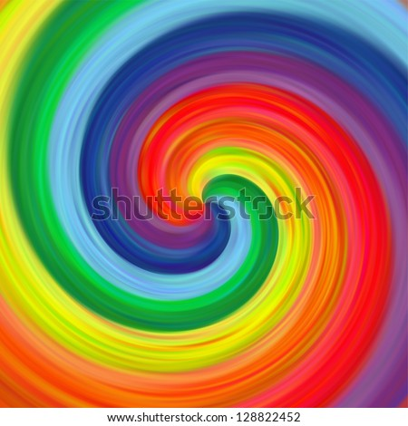 Abstract art swirl rainbow colorful draw background - stock photo