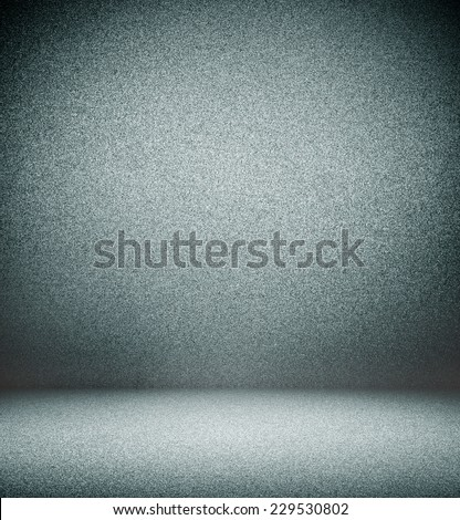 Abstract artistic background texture with bright center spotlight of dark blue and niello black vignette border frame, gradient wall, flat floor. Empty light space fairy room decorative color interior - stock photo