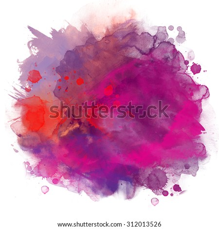 Abstract artistic beautiful colorful bright watercolor spot hand painted background. Text template. Grunge spring summer colors. Magenta, lilac and blue shades. Fashion trend hues . - stock photo