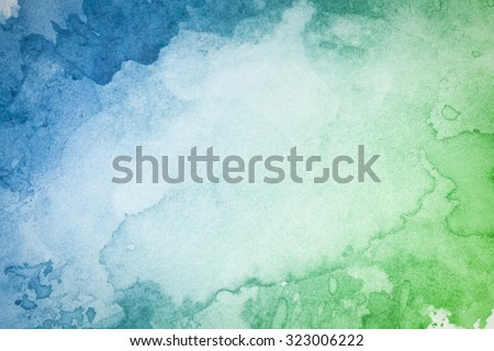 Abstract artistic green blue watercolor background - stock photo