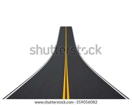 Abstract asphalt road going to the distance isolated on white background. - stock photo