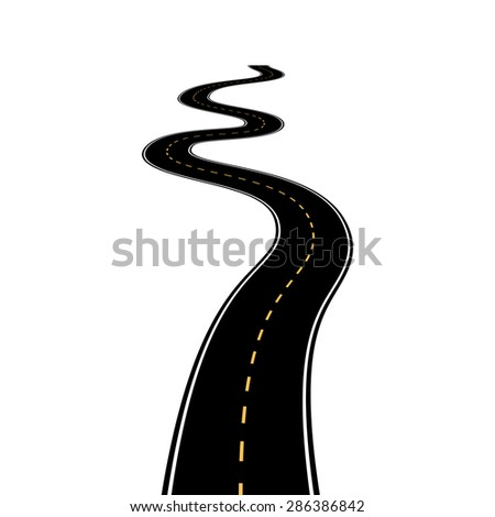 Abstract asphalt road isolated on white background - stock photo