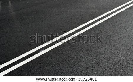 Abstract Asphalt Road Stripe - stock photo