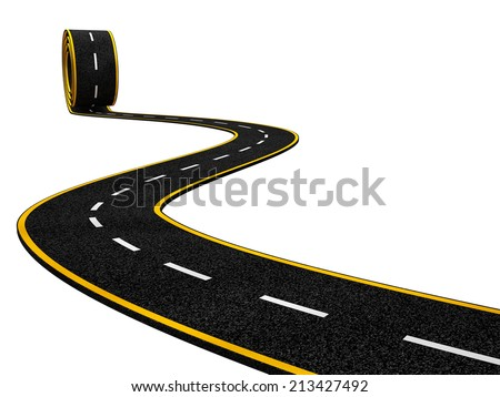 Abstract Asphalt Winding Road on White Background - stock photo