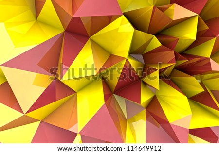 abstract autumn triangular three dimensional shape background render illustration - stock photo