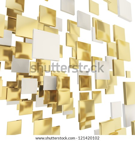 Abstract backdrop made of glossy chrome metal and golden square plates over white background - stock photo