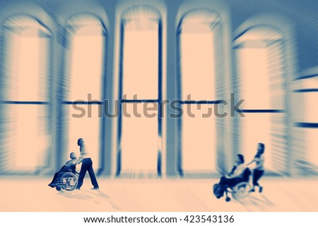 Abstract background . A disabled person in a wheelchair indoor. Radial zoom blur effect defocusing filter applied, with vintage instagram look. - stock photo