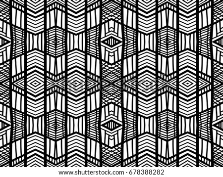 Abstract Background Black And White Ethnic Texture Geometric Wallpaper Tribal For Fabric