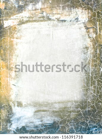 Abstract background: blue and yellow patterns on gray backdrop. Great for art texture, grunge design, and vintage paper