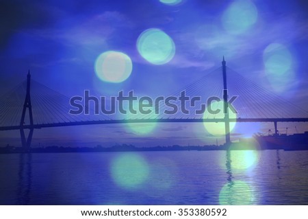 abstract background bokeh with sling bridge