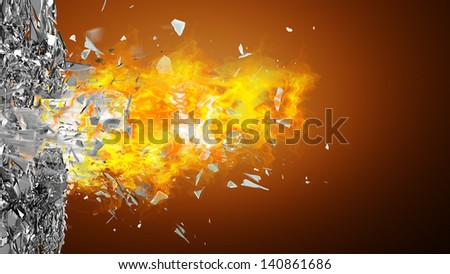 abstract background. broken glass and fire. High resolution 3d render - stock photo