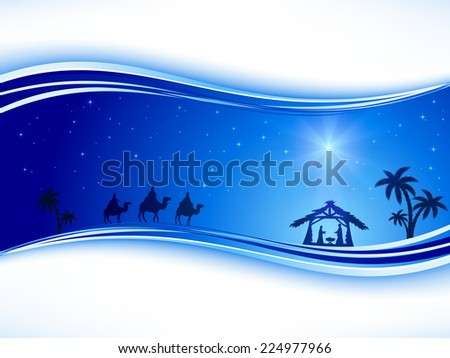 Abstract background, Christian Christmas scene with shining star on blue sky and birth of Jesus, illustration. - stock photo