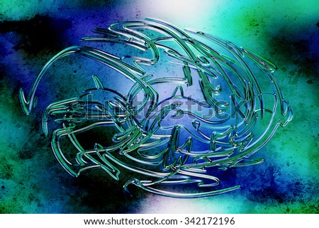 abstract background, color graffiti with grunge effect and glass effect