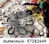 abstract background, color painted graffiti - stock photo