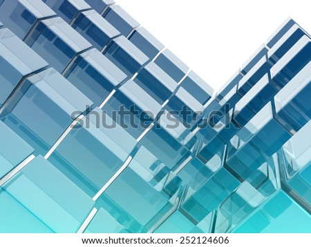 abstract background composed by glass cubes, digitally generated image - stock photo