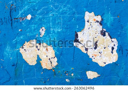 Abstract background concrete painted with blue paint, weathered with cracks and scratches. Landscape style. Grungy Concrete Surface. Great background or texture. - stock photo