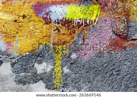 Abstract background concrete painted yellow and purple paint, weathered with cracks and scratches. Landscape style. Grungy Concrete Surface. Great background or texture. - stock photo