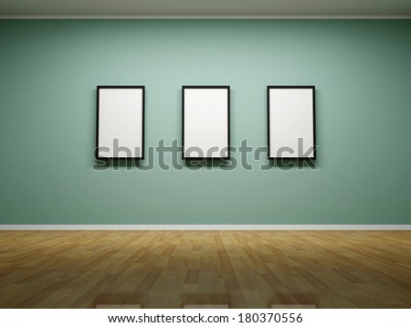 Abstract background. 3D render. Picture frames or photos on the wall of the room. - stock photo