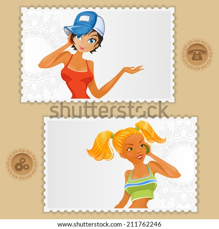 Abstract background design; Cute cartoon schoolgirl framed in a stamp talking on phone and socialize; Old phone and option pictogram in button. - stock photo
