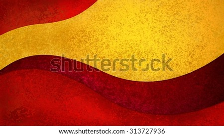 abstract background design with curves and waves in red and gold - stock photo